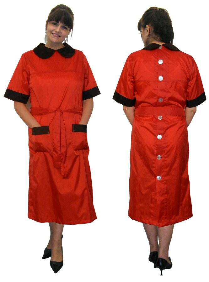 Blouse Nylon Kittel Schürze Kleid 48Kasack hinten geknöpft ...