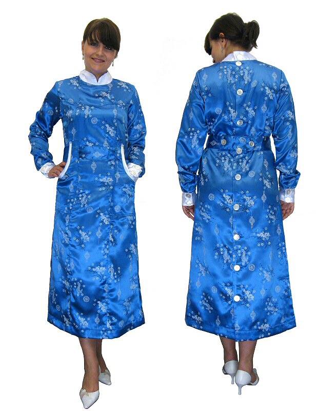 Satin Nylon Kittel Kleid Blouse hinten geknöpft 40 | eBay