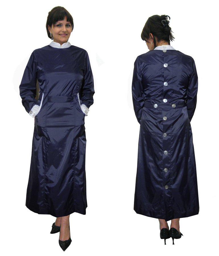 Blouse Nylon Kittel Smock 42 Kleid Schürze hinten geknöpft ...