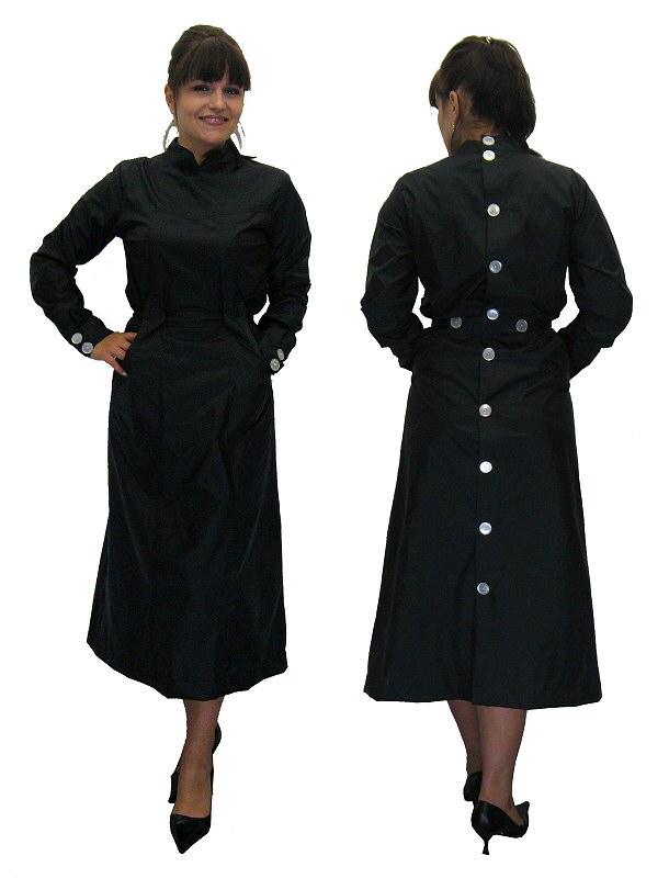 Nylon Kittel Schürze Kleid Zofe hinten geknöpft 40 | eBay